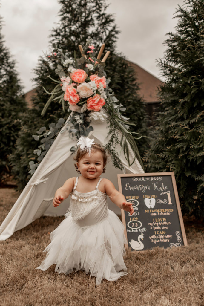 first birthday photoshoot by bohemian floral teepee