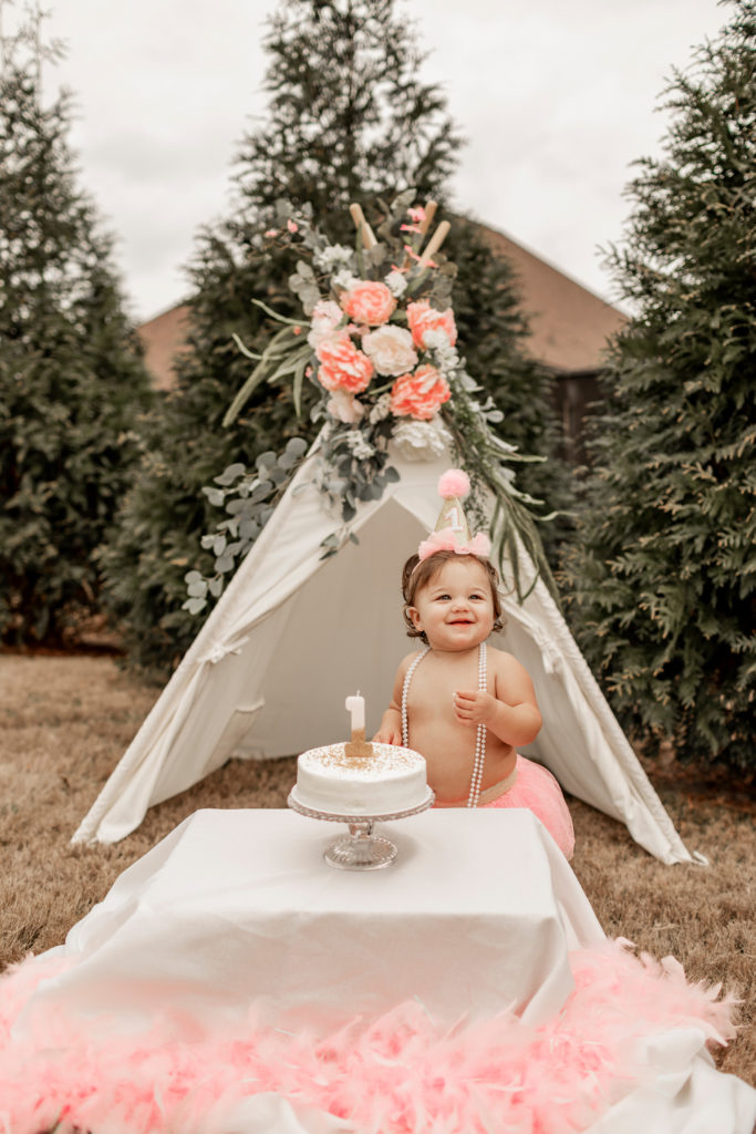 first birthday cake smash by bohemian floral teepee