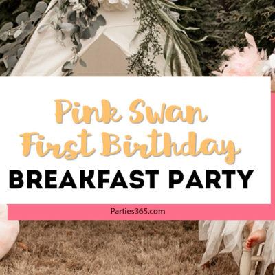 pink swan first birthday breakfast party
