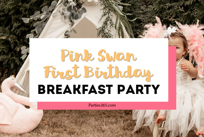 pink swan first birthday breakfast party