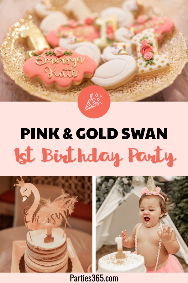 pink and gold swan first birthday party ideas
