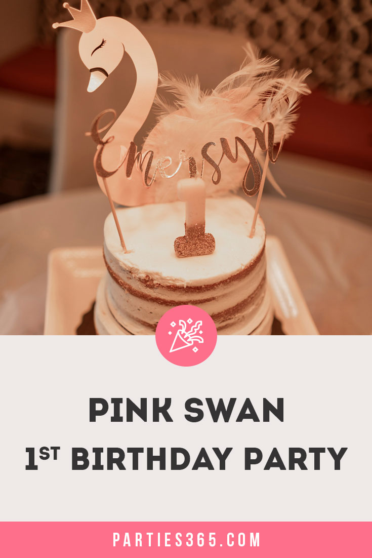 pink swan 1st birthday party