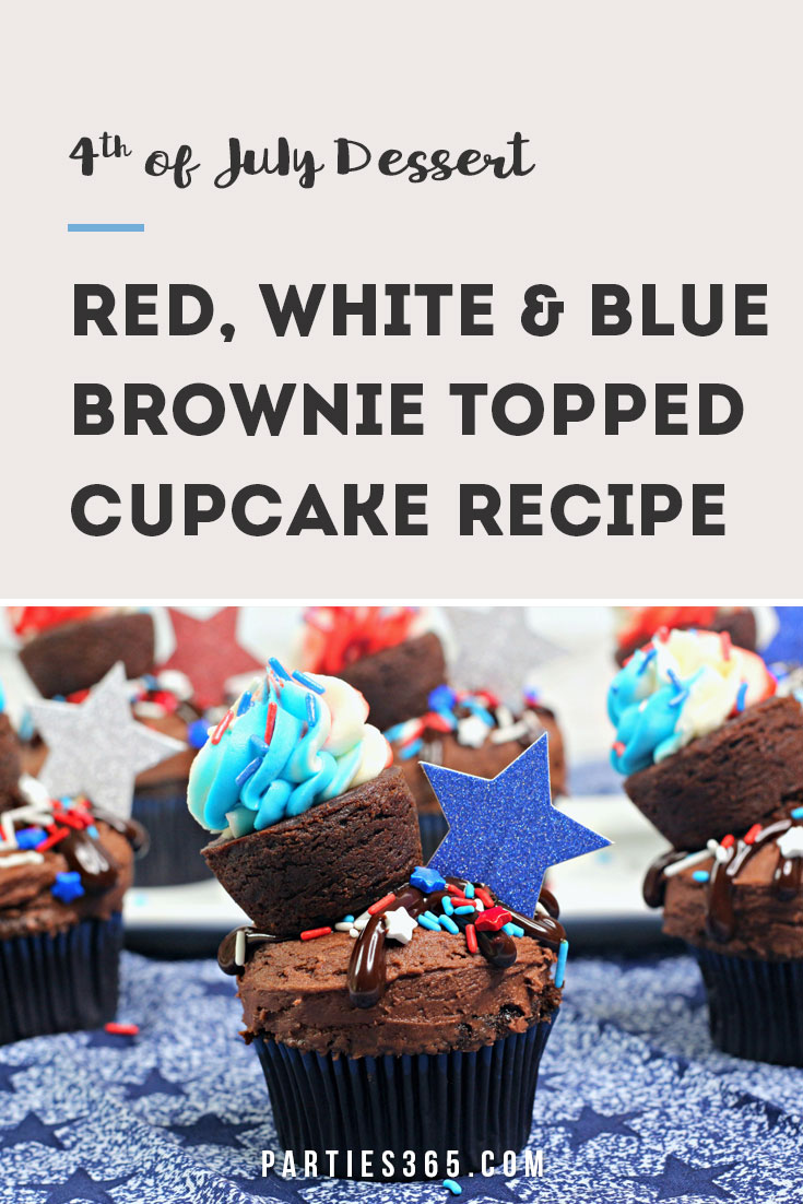 red, white and blue brownie topped cupcake recipe