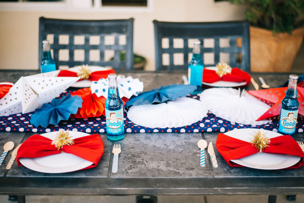 4th of july red, white and blue table decorations