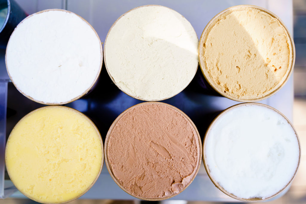 Italian gelato in six different flavors