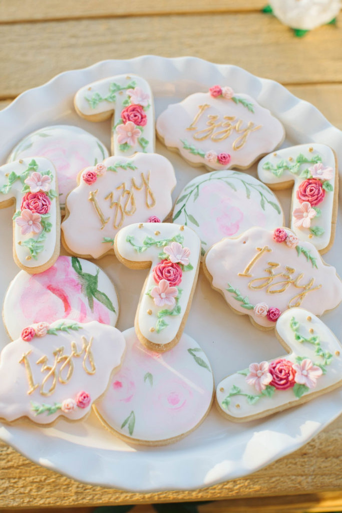 custom 7th birthday cookies with pink flowers