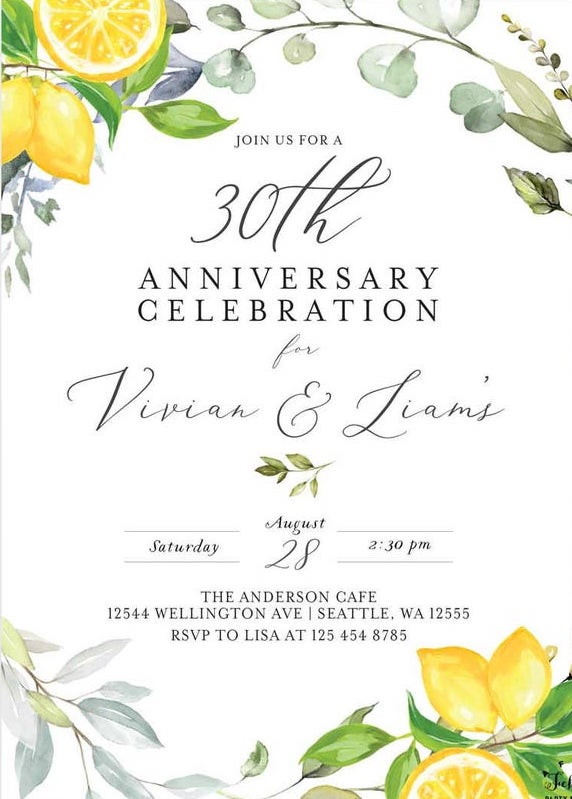 lemon anniversary party invitation