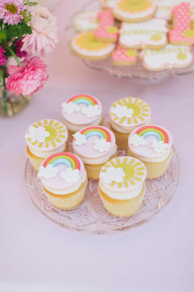 sunshine and rainbow cupcakes