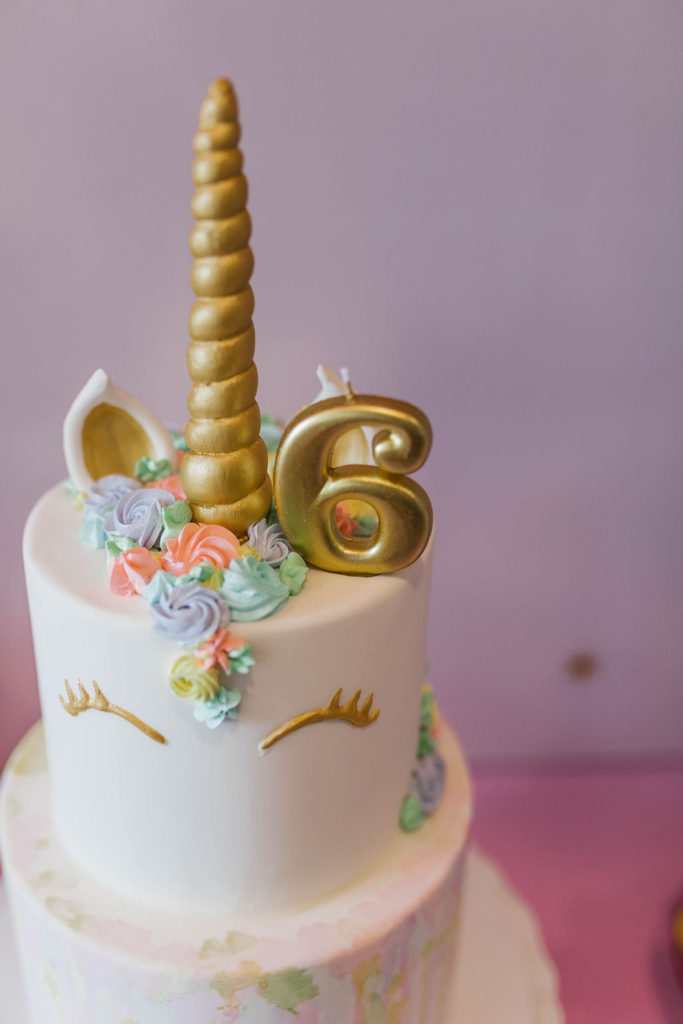 gold unicorn 6th birthday cake