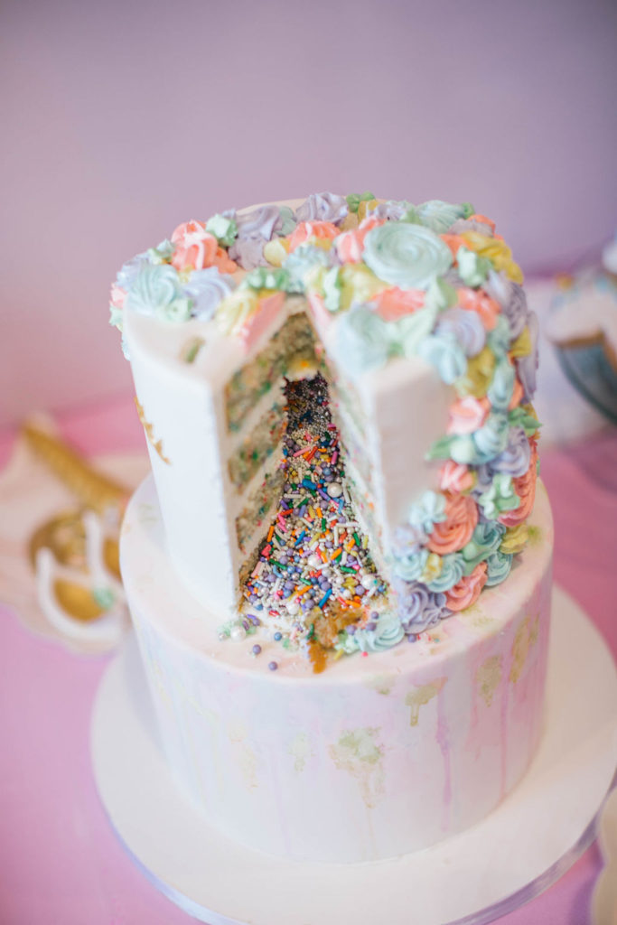 sprinkle filled unicorn birthday cake