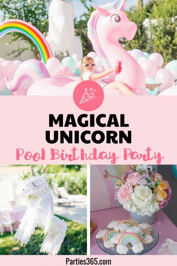 magical unicorn pool birthday party