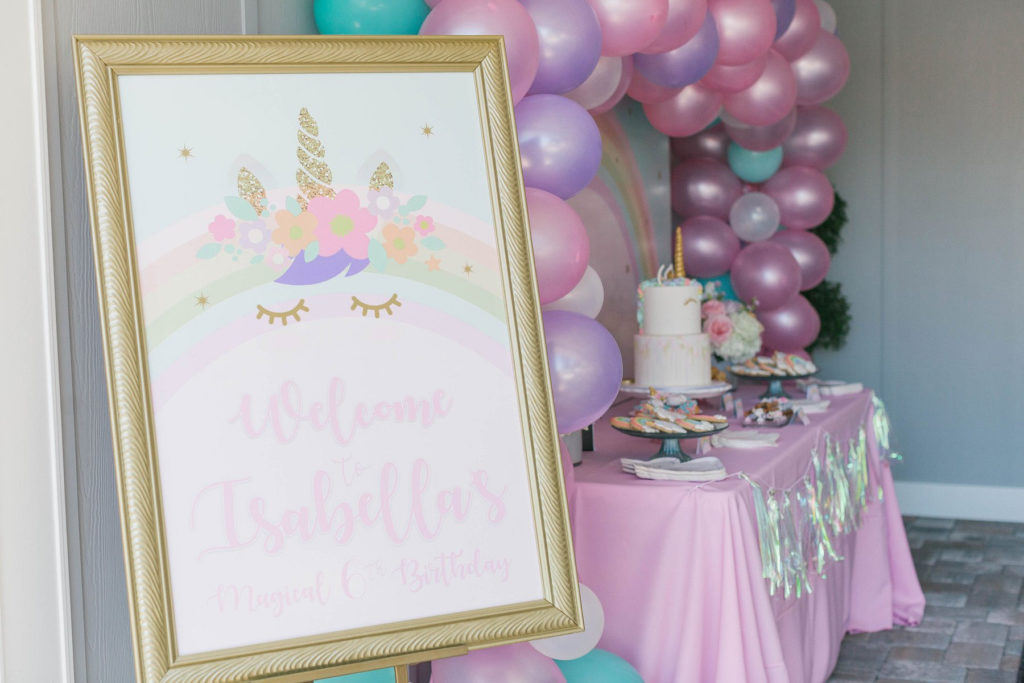 unicorn birthday party welcome sign in gold frame