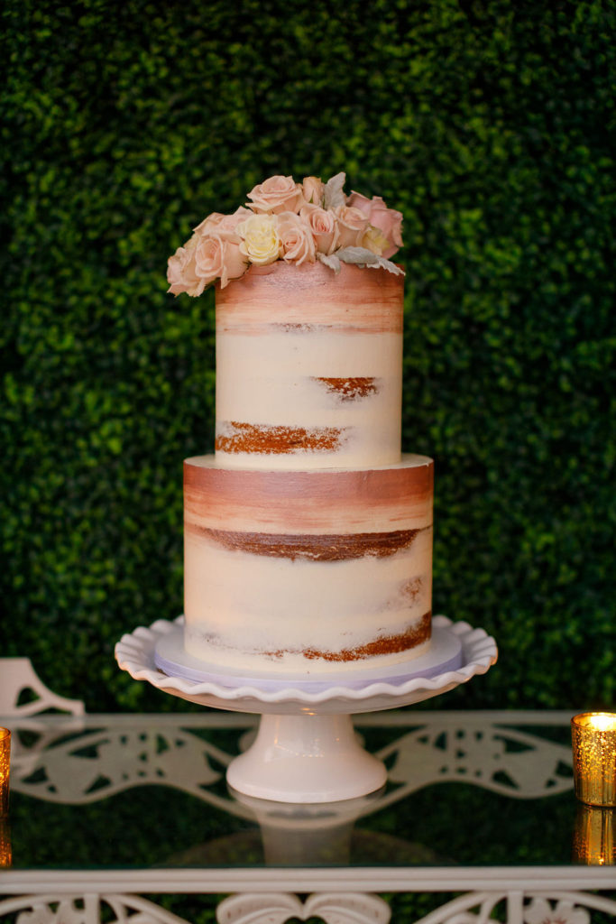 bohemian birthday cake in pink and white