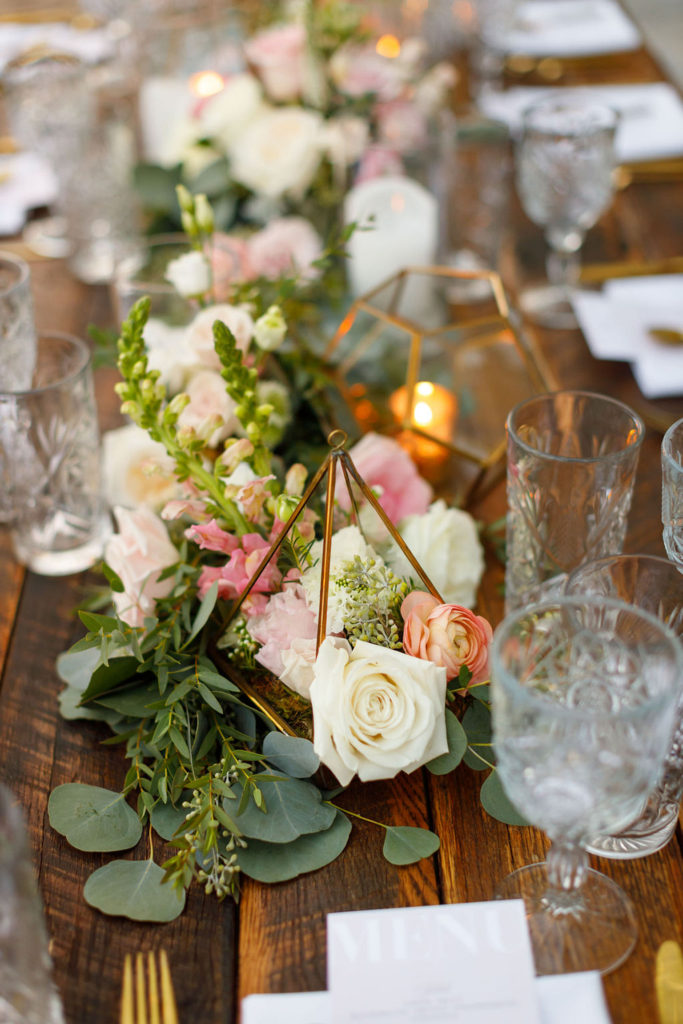 bohemian centerpiece with pink and white florals