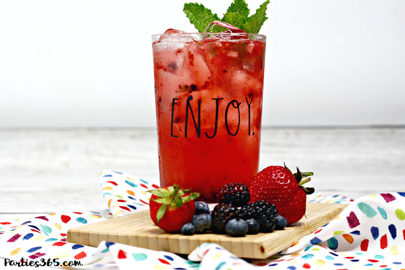 refreshing summer triple berry cocktail