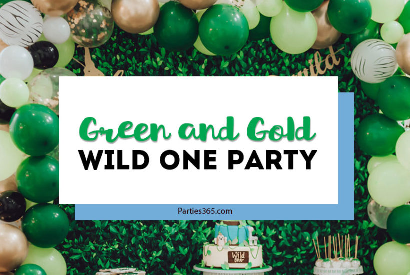 green and gold wild one party