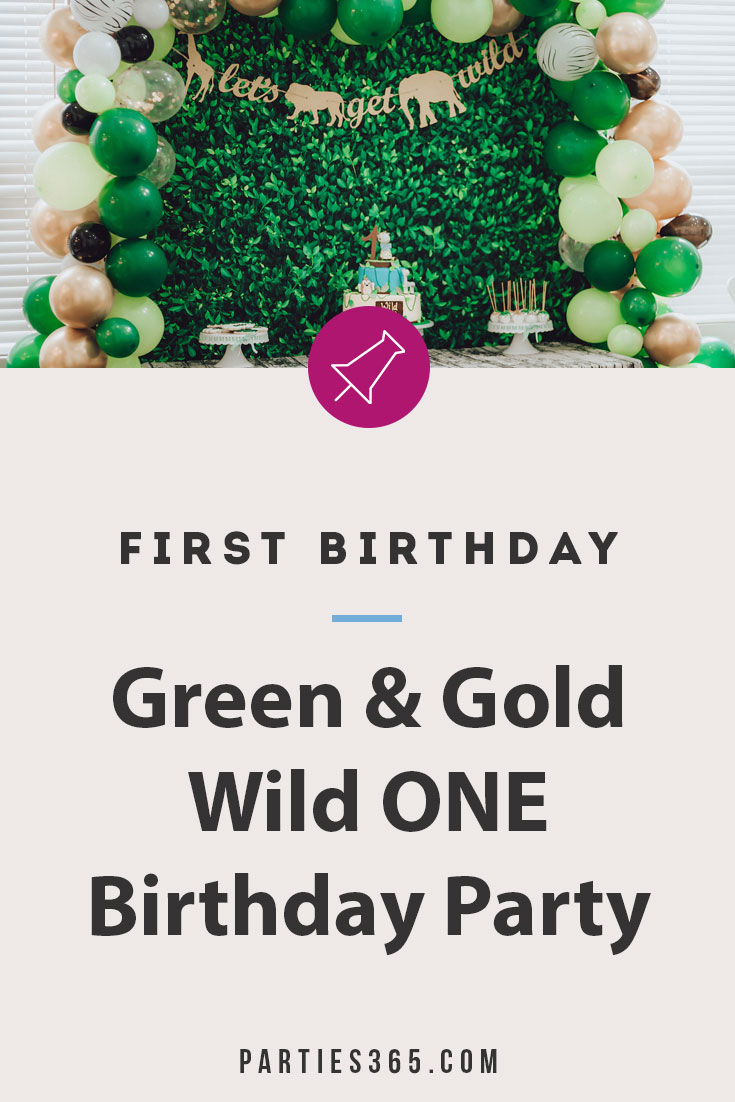 green and gold wild one birthday party