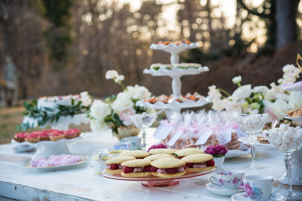 dessert table at bridal shower tea party