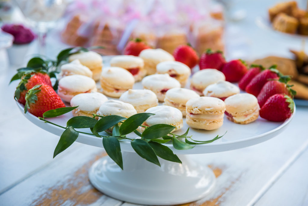 macarons on white cake stand