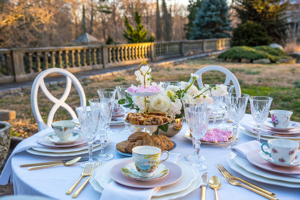 tea party bridal shower table set up in backyard