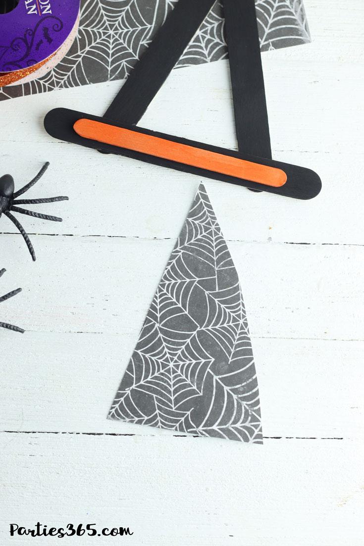 spiderweb craft paper cut in triangle