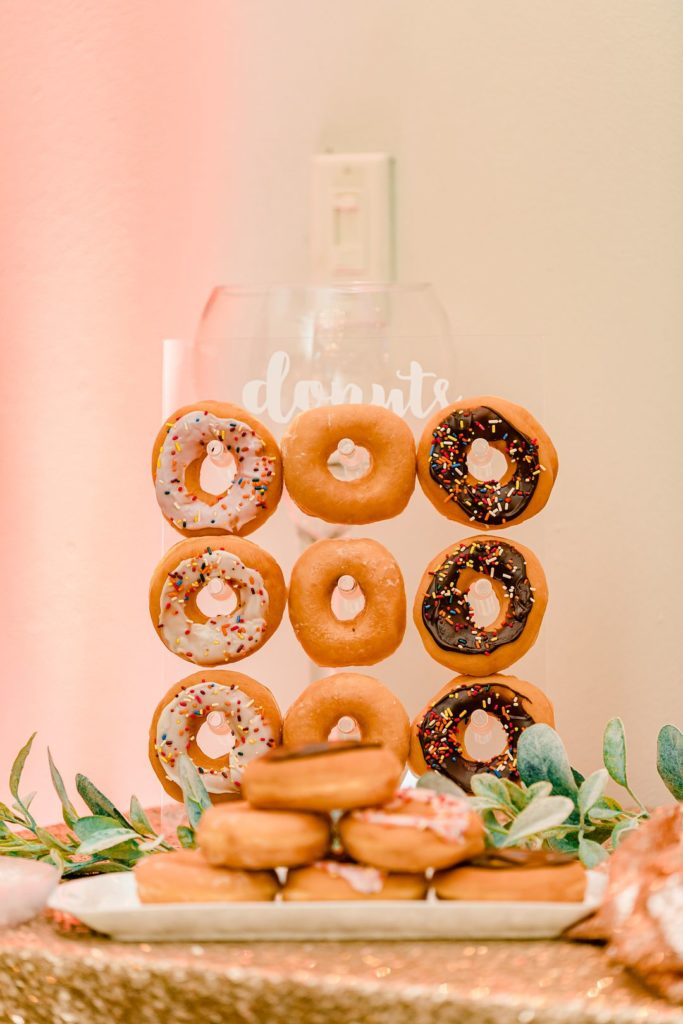 donuts on clear donut stand