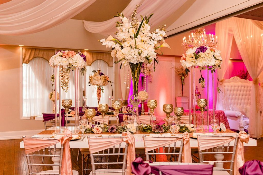 pink baby shower tables and floral centerpieces