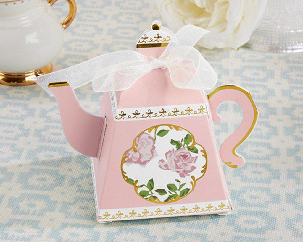 pink tea pot favor boxes for bridal shower