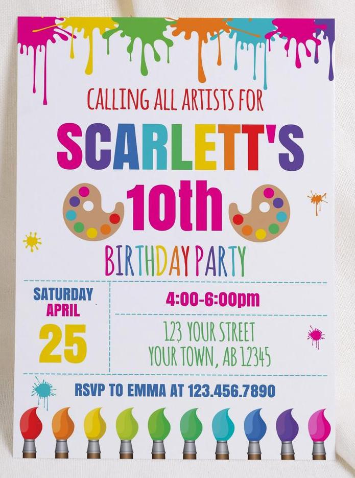 calling all artists painting party invitation