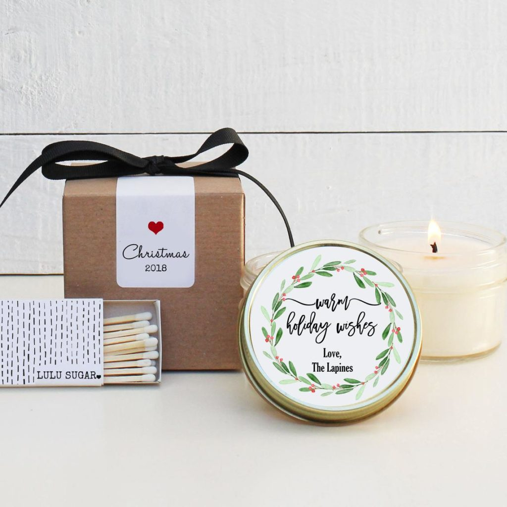 Christmas candle party favor