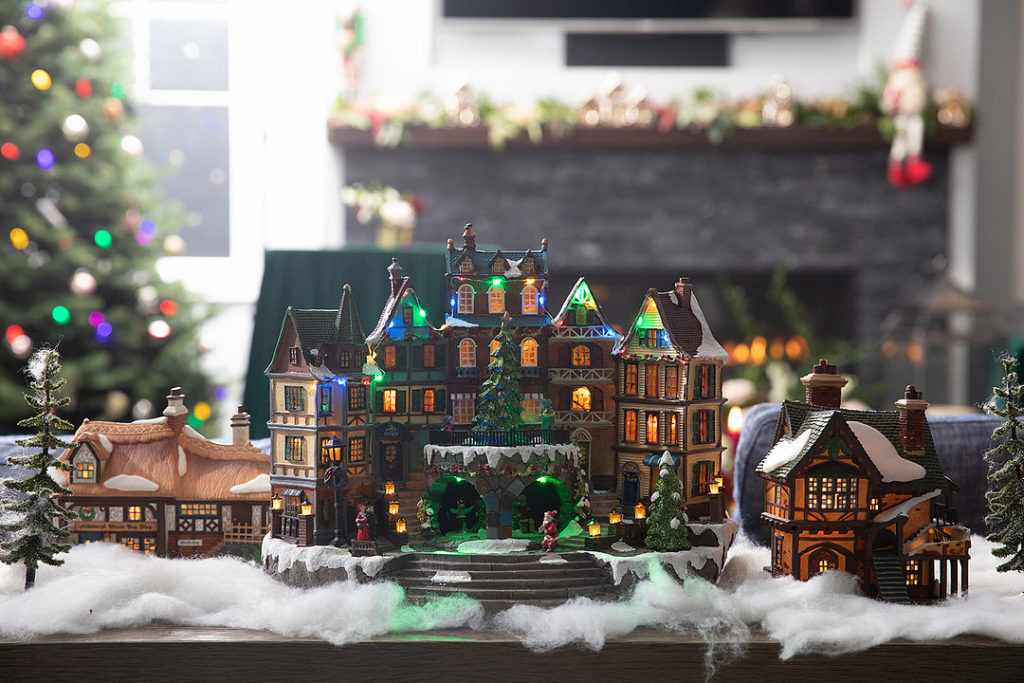 Christmas village displayed at party