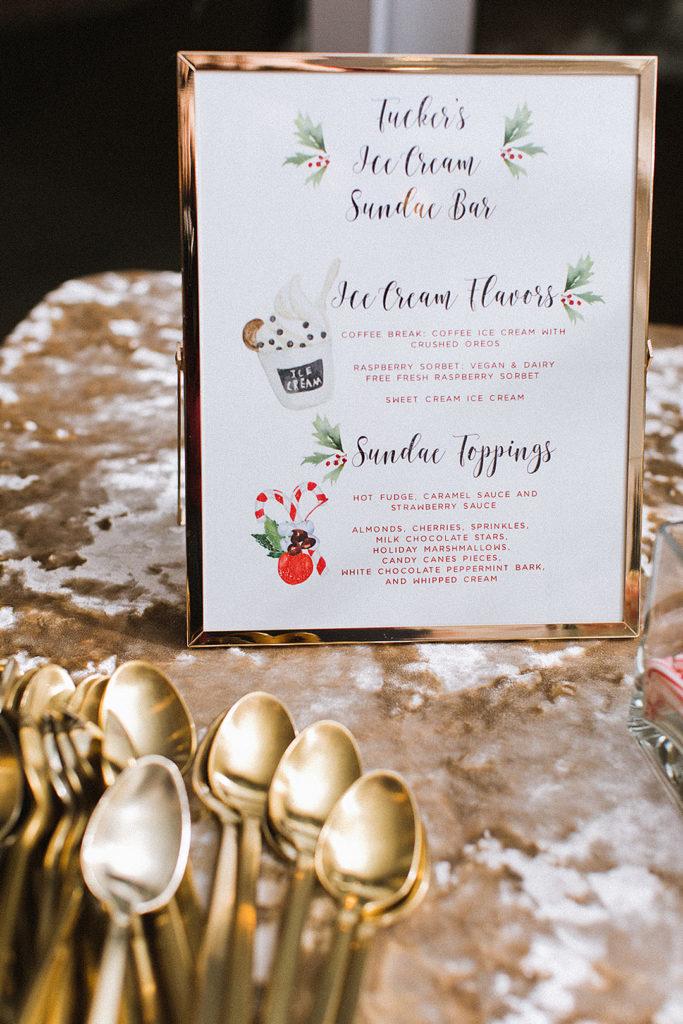 Christmas ice cream sundae bar menu