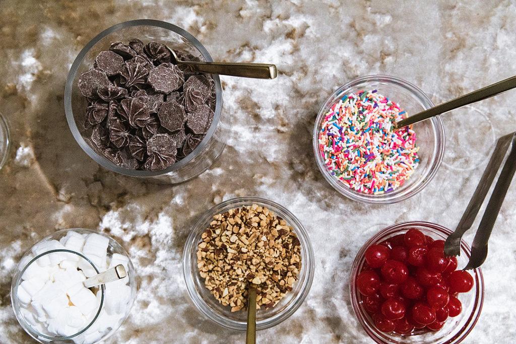 Christmas ice cream sundae bar toppings