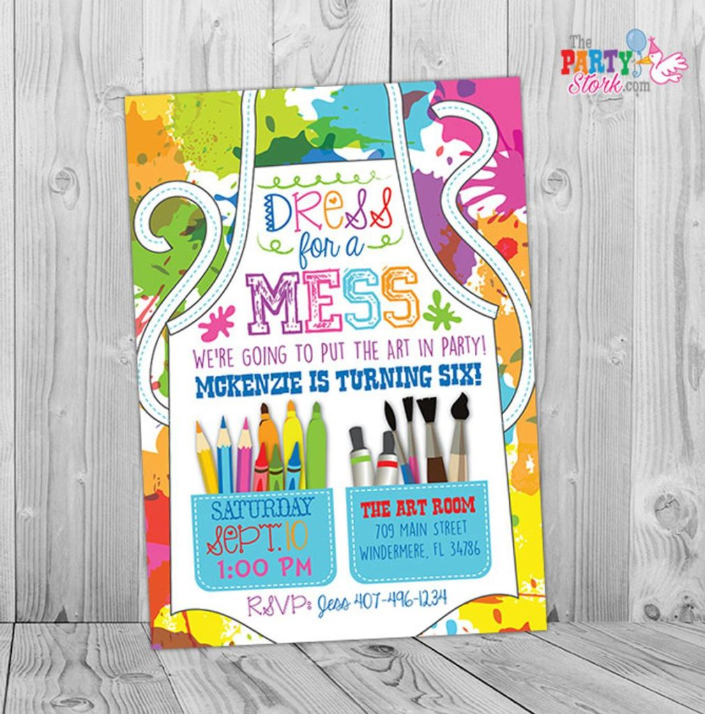 dress for the mess painting party birthday invitation