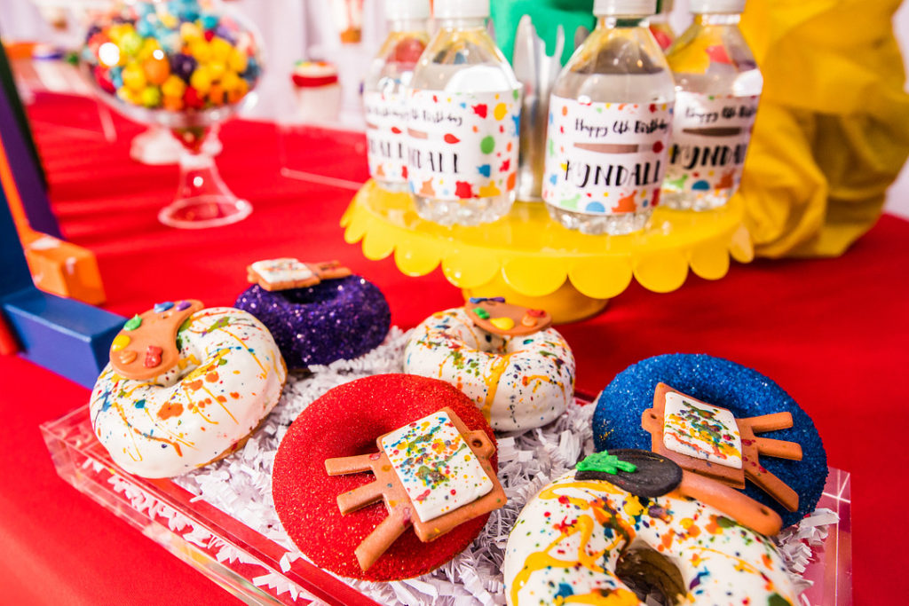 painting party themed donuts