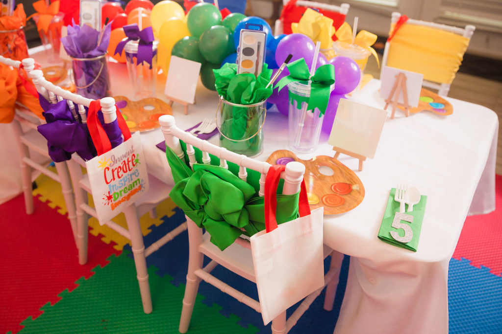 painting party table decoration ideas