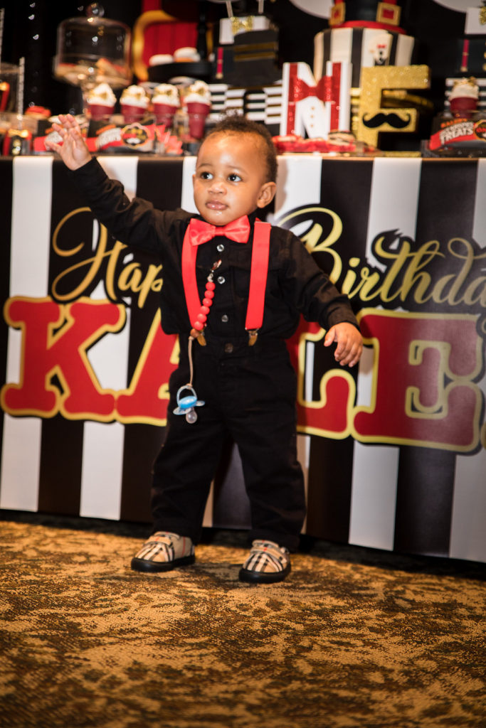 birthday boy at Mr. Onederrful themed first birthday party