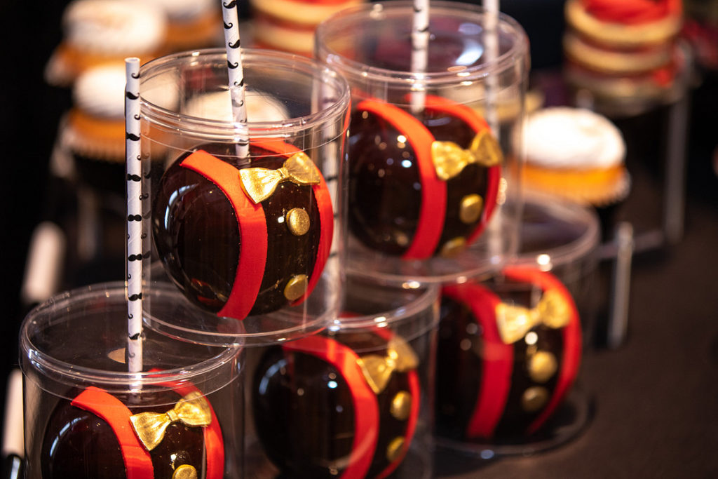 little man 1st birthday candy apple favors