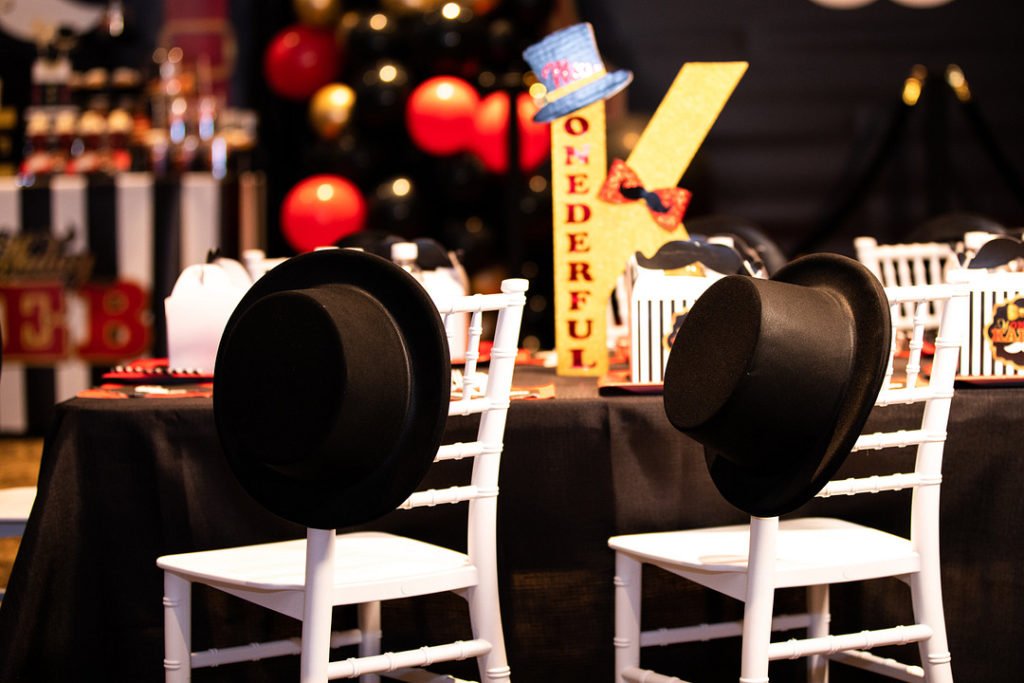 mr. onederful tables, chairs and top hats