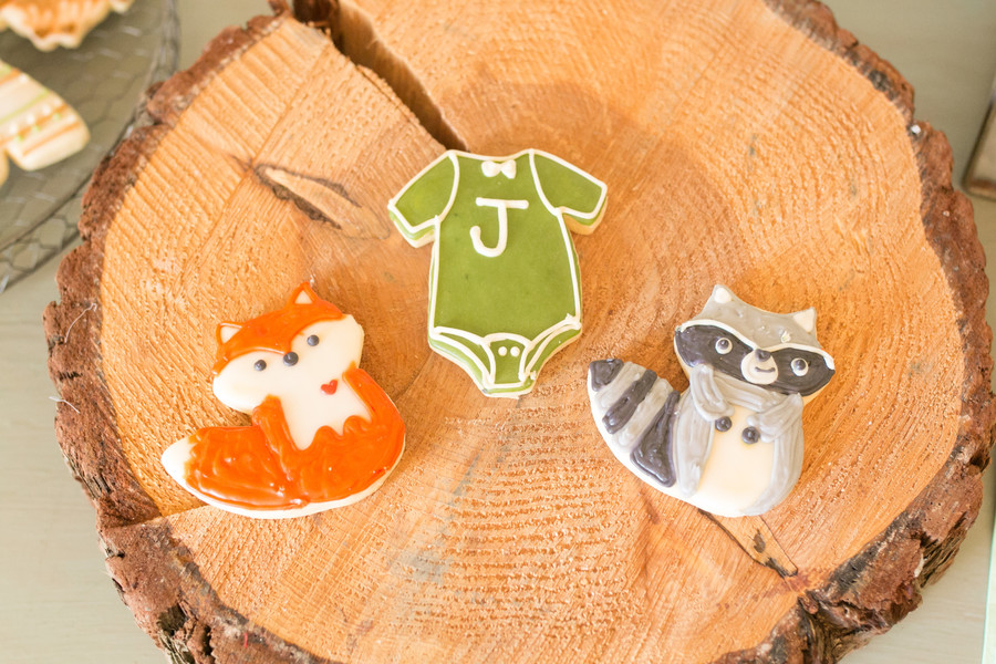 woodland forest baby shower cookies