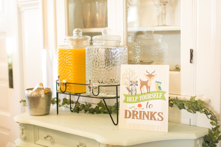 drink station at baby shower
