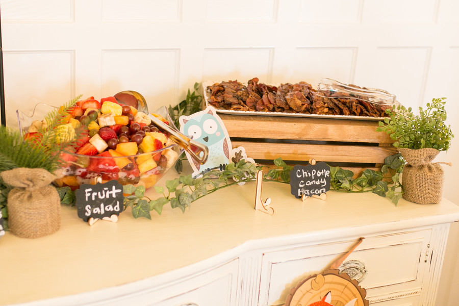 fresh fruit and bacon at baby shower brunch