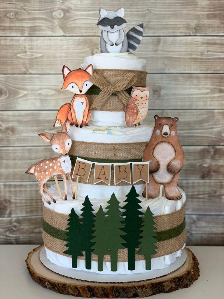 woodland forest animal diaper cake kit