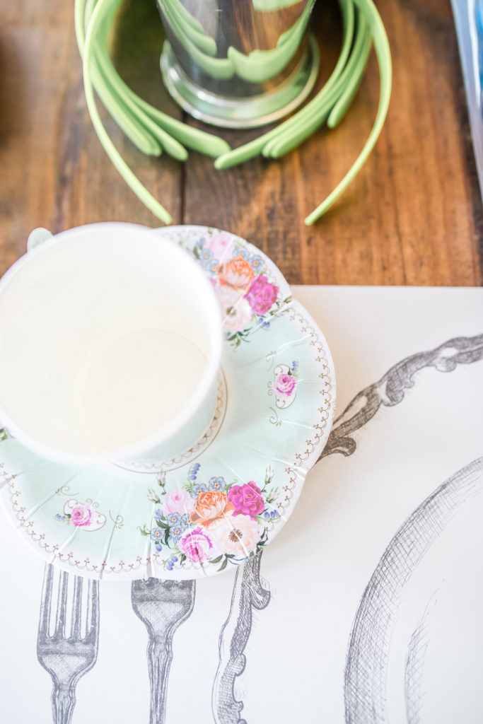 alice in onederland tea cup at place setting