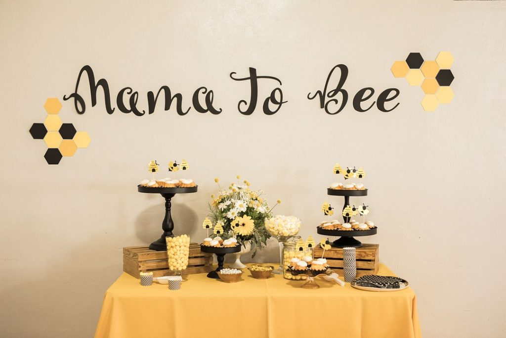 mama to bee baby shower dessert table