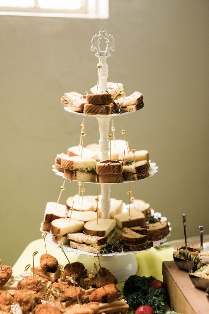tea sandwiches on tiered tray