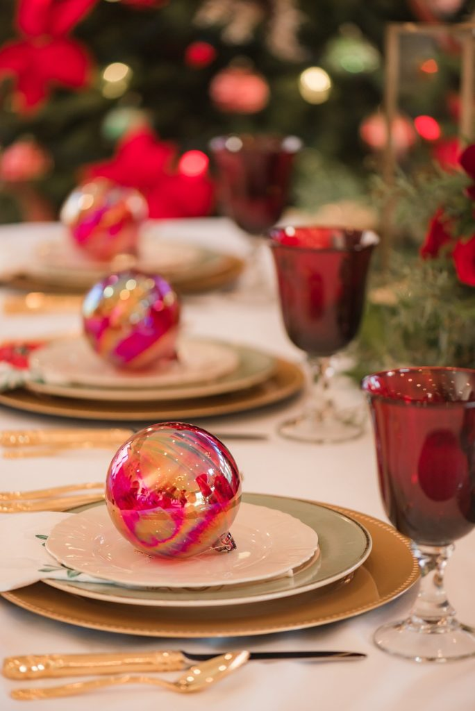 red glass christmas ornaments as party favors