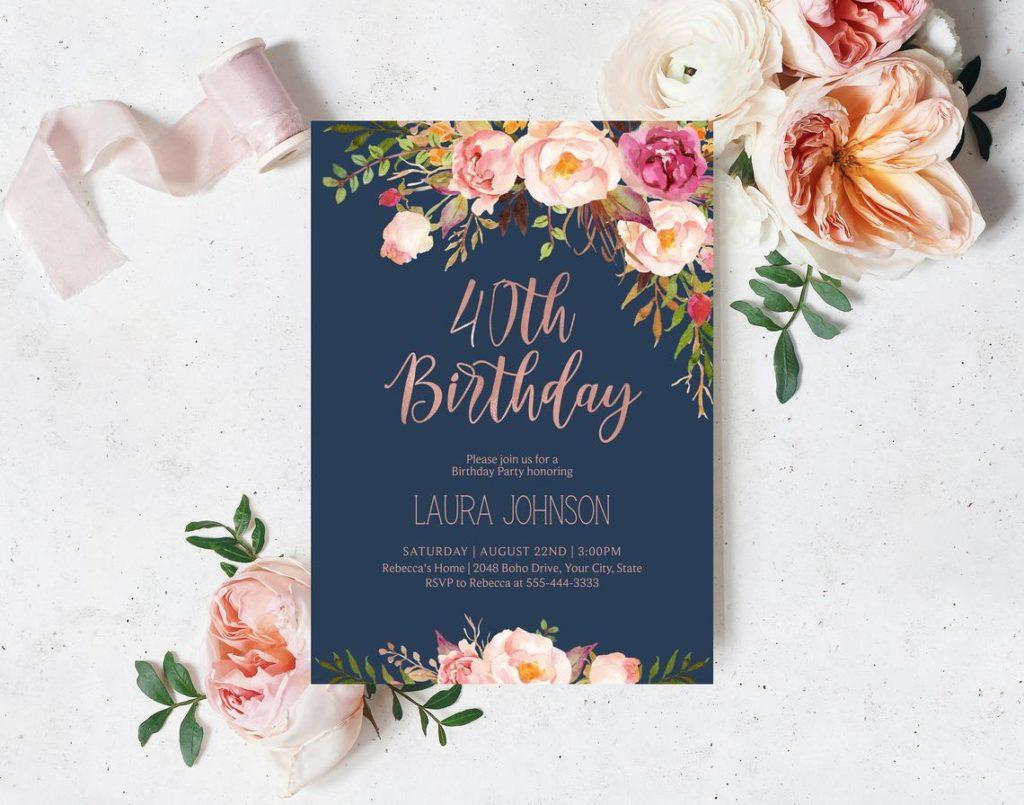 bohemian birthday invitation