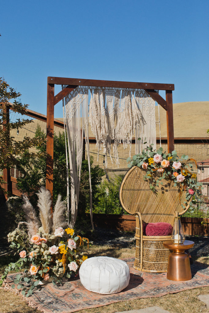 boho inspired photo backdrop for party