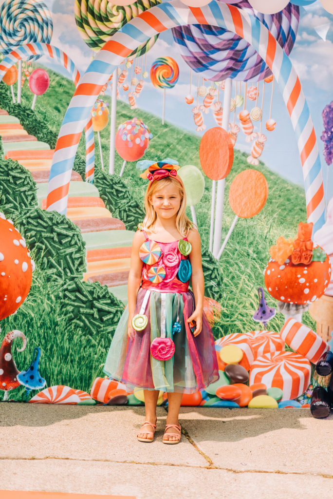 girl at candy land birthday party